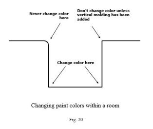 In this scenario, there's only one choice for a wall of accent color. That back wall could be a darker or lighter color, depending on whether you want it to recede or come forward, visually. Darker colors generally recede.