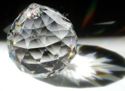 This is the standard disco-ball shaped crystal used in feng shui. The facets are triangular. Photo courtesy Laura Hoffman, XinaCat.com.