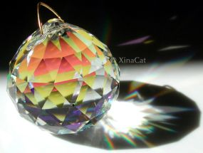 This crystal has an iridescent coating. Photo courtesy Laura Hoffman, XinaCat.com.