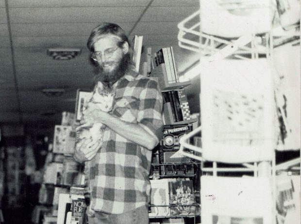 Here I am in my second bookstore, Books as Seeds, in October, 1982. The next year it doubled in size to become the largest bookstore in North Alabama. I'm holding my sweet kitten, Kusala.